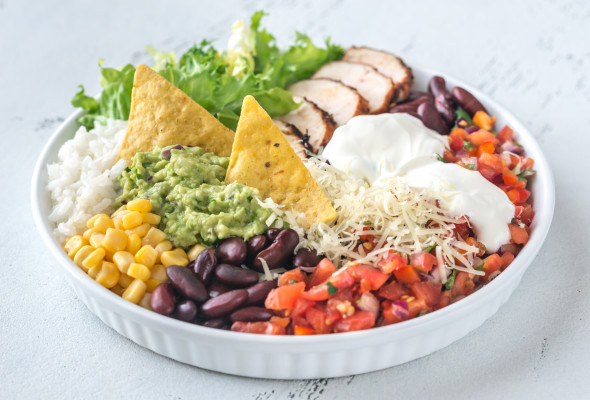 Burrito with pork in a bowl (450g) Images - Photos - Logo