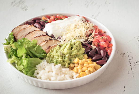 Burrito with chicken in a bowl(450g) Images - Photos - Logo